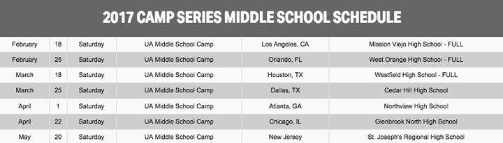 UA campseries MS Schedule