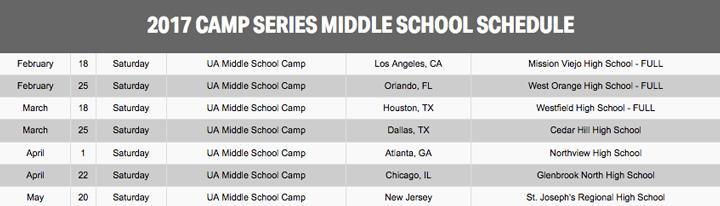 UA campseries MS Schedule