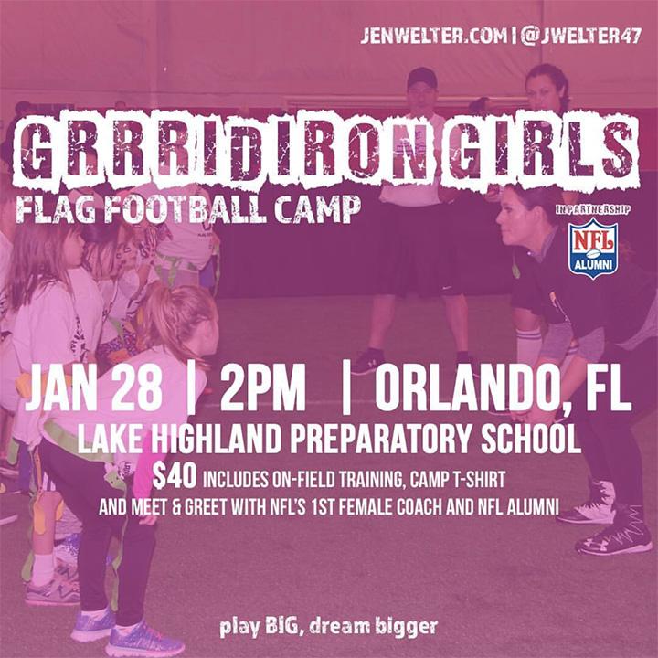 Jen Welter's Grrridiron Girls Flag Football Camp