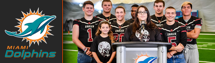 Dolphins Announcement Day 3 Draft Picks with Marjory Stoneman Douglas Football Team and Family of Aaron Feis